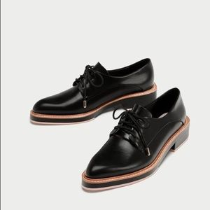 NWT Zara Black Faux Leather Derby Oxford Shoes